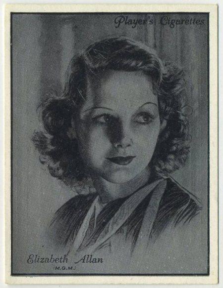Elizabeth Allan 1934 Players Film Stars Tobacco Card
