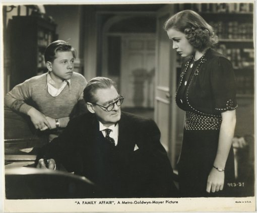 Mickey Rooney Lionel Barrymore and Cecilia Parker