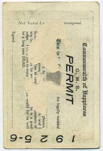 Reverse side of Louise Brooks 1924 George White Permit Card