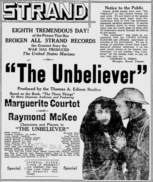 1918 advertisement for The Unbeliever
