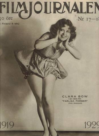 Clara Bow on the cover of a 1929 issue of Filmjournalen, a movie magazine from Finland