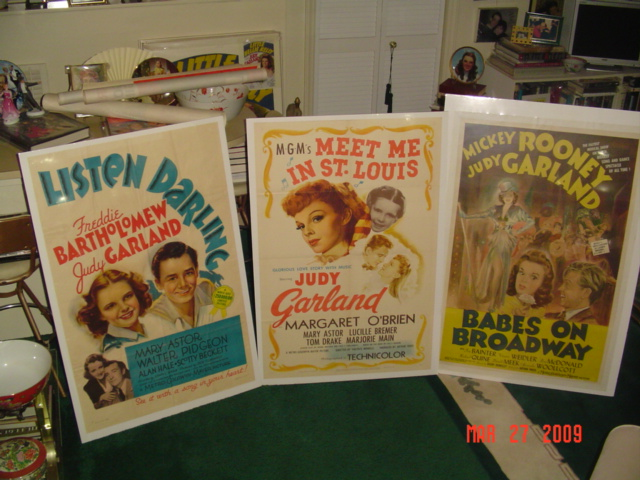 Movie Posters - Listen Darling, Meet Me in St. Louis, and Babes on Broadway, with other items in the background