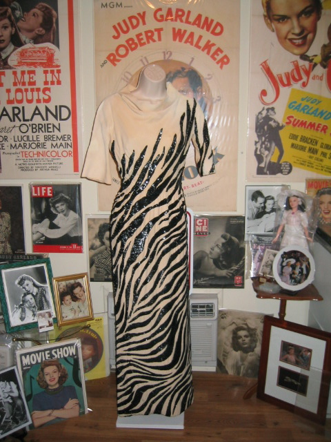 The Judy Garland zebra gown from the storage shot above out on display on a dress form.