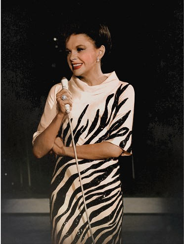 A photo of Judy Garland wearing the zebra gown that is now part of Charles' collection.