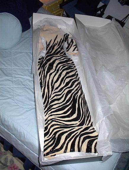 A zebra gown Judy wore on The Judy Garland Show in the early 1960's.  More photos of this item are shown below.