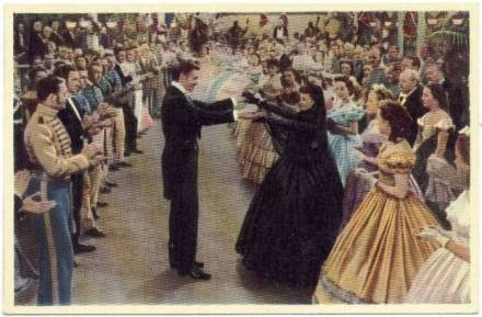 1940 A & M Wix Cinema Cavalcade Tobacco Card - No. 179: Gaiety in Atlanta - Scarlet (Vivien Leigh) scandalizes the aristocracy of Atlanta by agreeing to dance with Rhett Butler (Clark Gable) at the local ball although she is still in mourning for her husband.