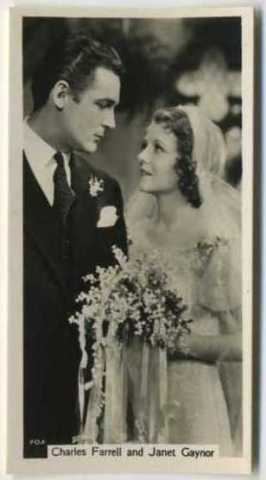 Charles Farrell shown with Janet Gaynor on this tobacco card from John Sinclair in 1937 showing them in one of their 12 film pairings