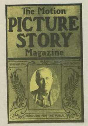 Thomas Edison on the cover of the February 1911 issue of Motion Picture Story Magazine, as shown in the full advertisement above.