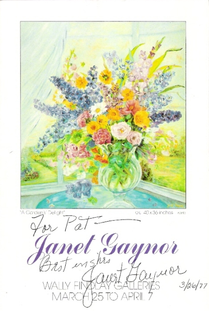 1977 signed and dated program to Janet Gaynor show at Wally Findlay Galleries.  A Garden's Delight is shown on the cover.  Image courtesy of Charles Triplett.