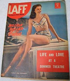 Laff Magazine, June 1946 featuring brunette Norma Jean Doughterty on the front cover.  This is only Marilyn Monroe's 2nd appearance on the cover of a major U.S. magazine (5th appearance overall) and is quite rare.