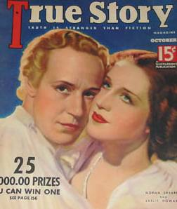With Norma Shearer on the cover of True Story
