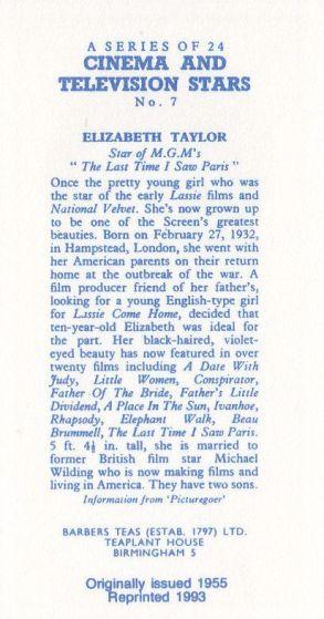 Reverse side of 1993 reprint card #7 Elizabeth Taylor