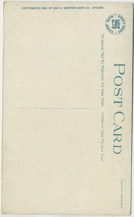 Reverse side of Harold Lloyd MBSC Postcard