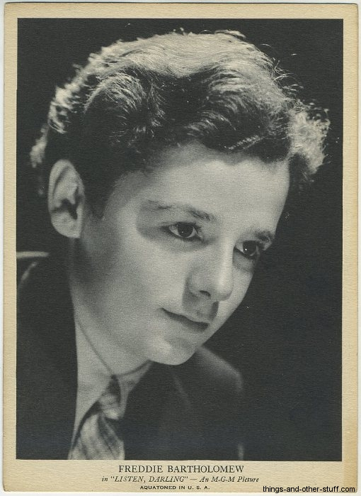 Freddie Bartholomew R96 Aquatoned in USA Card