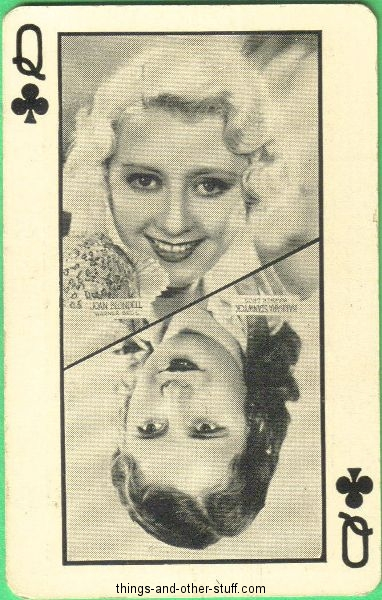 Joan Blondell and Barbara Stanwyck featured on the Queen of Clubs