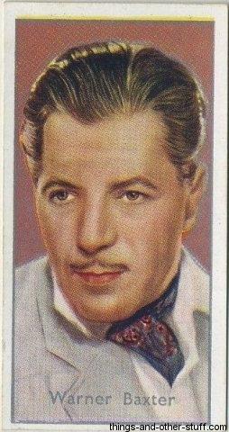 Warner Baxter 1936 Carreras Film Stars Tobacco Card