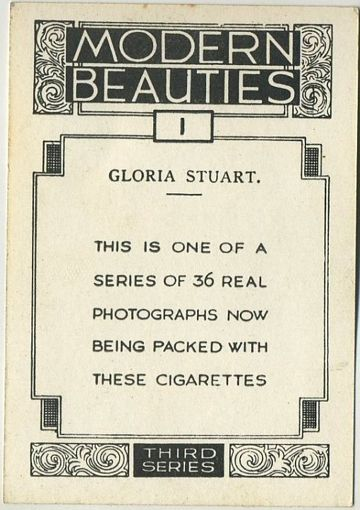 Gloria Stuart 1937 BAT Modern Beauties Series 3 tobacco card