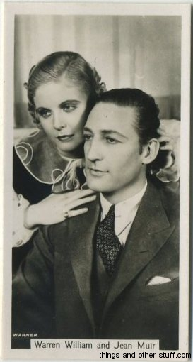 Warren William and Jean Muir 1937 John Sinclair Film Stars Tobacco Card