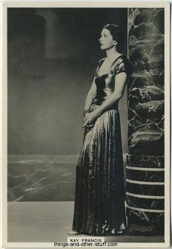 Kay Francis 1938 BAT Modern Beauties Tobacco Card
