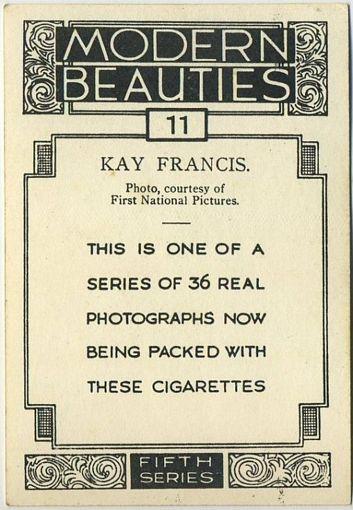 Example of Reverse 1938 BAT Modern Beauties Series 5 Tobacco Card