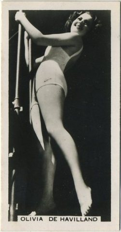 Olivia de Havilland 1938 Carreras Film Stars Tobacco Card
