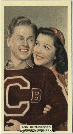 Ann Rutherford and Mickey Rooney 1939 A and M Wix Film Favourites tobacco card