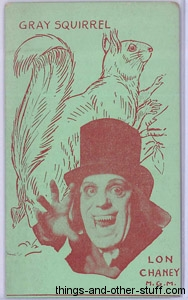 Lon Chaney and Grey Squirrel 1920s Strip Card in Green