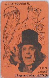 Lon Chaney and Grey Squirrel 1920s Strip Card in Orange
