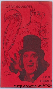 Lon Chaney and Grey Squirrel 1920s Strip Card in Red