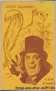 Lon Chaney and Grey Squirrel 1920s Strip Card in Yellow