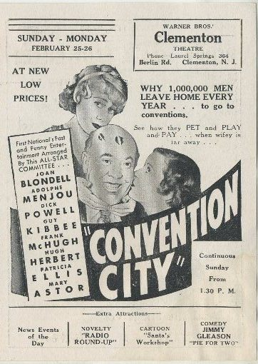 Convention City advertised in Clementon Theatre program
