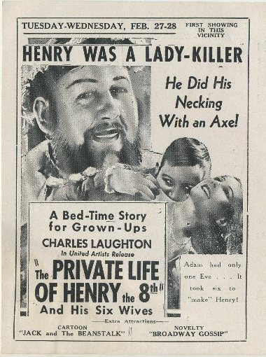 The Private Life of Henry VIII advertised in Clementon Theatre program