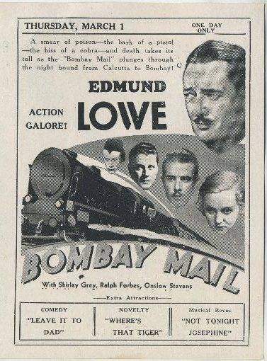 Bombay Mail advertised in Clementon Theatre program