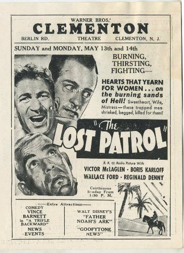The Lost Patrol advertised in Clementon Theatre program