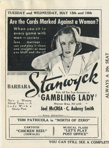 Barbara Stanwyck in Gambling Lady advertised in Clementon Theatre program
