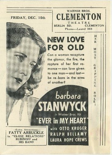 Barbara Stanwyck in Ever in My Heart advertised in Clementon Theatre program