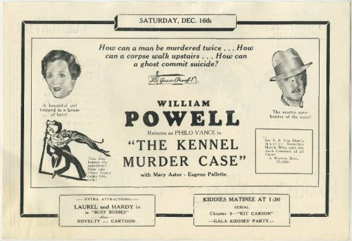 William Powell as Philo Vance in The Kennel Murder Case advertised in Clementon Theatre program