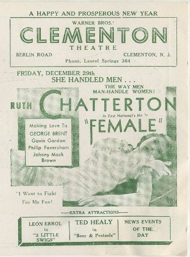Ruth Chatterton in Female advertised in Clementon Theatre program