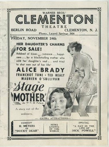 Alice Brady in Stage Mother advertised in Clementon Theatre program