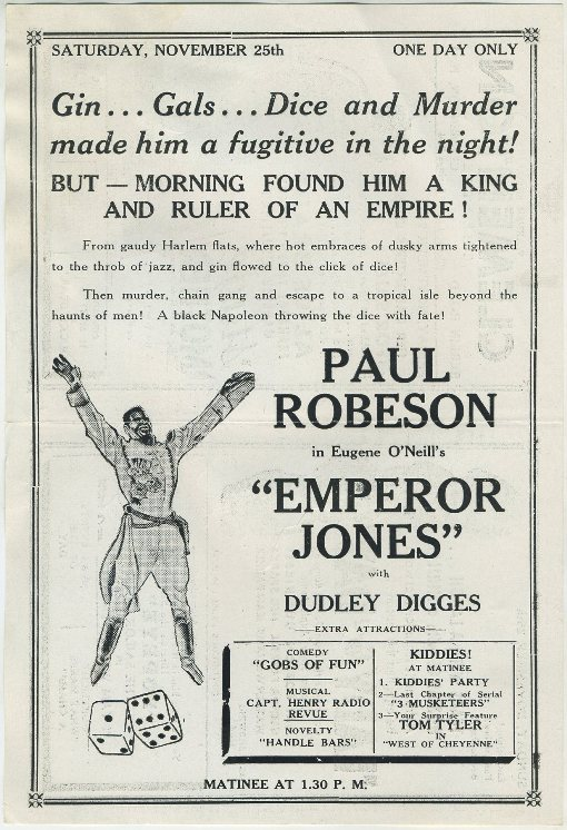 Paul Robeson in Emperor Jones advertised in Clementon Theatre program