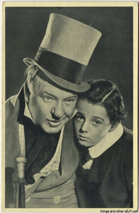 Freddie Bartholomew and WC Fields in David Copperfield on a 1940 Cinema Cavalcade Tobacco Card