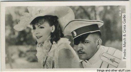 Fredric March and Greta Garbo 1937 John Sinclair Tobacco Card