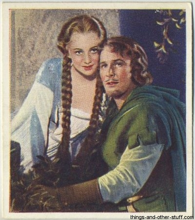 Olivia De Havilland and Errol Flynn 1939 Godfrey Phillips Tobacco Card