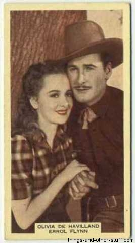 Olivia De Havilland and Errol Flynn 1939 A and M Wix Tobacco Card