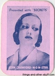 1935 Joan Crawford Secrets Magazine Mini Playing Card
