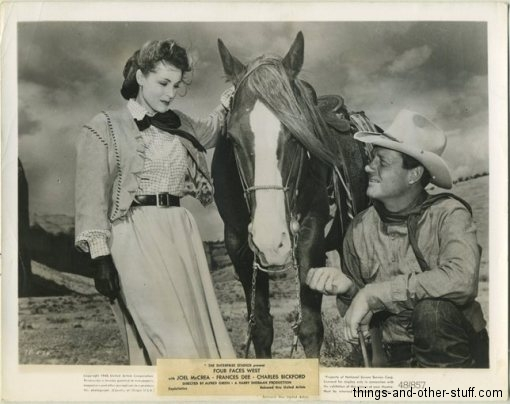 Joel McCrea and Frances Dee in Four Faces West (1948) vintage still photo
