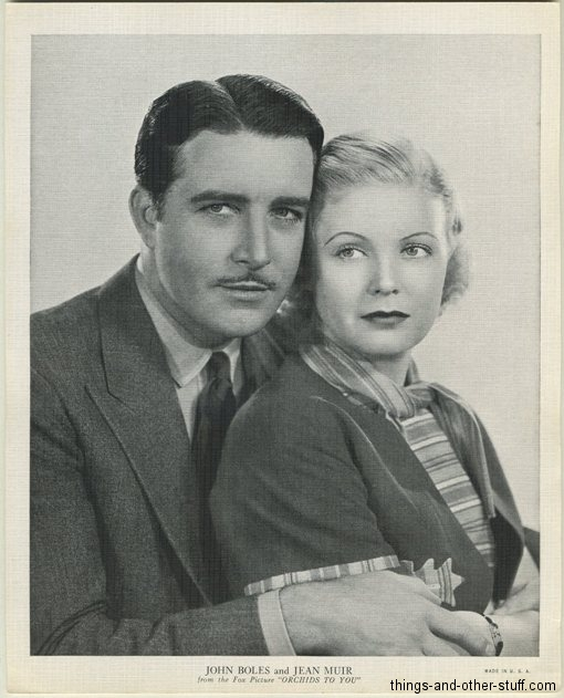 John Boles and Jean Muir 1936 R95 8x10 Linen Textured Photo