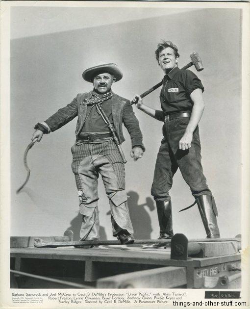 Akim Tamiroff and Joel McCrea in Union Pacific (1939) vintage still photo
