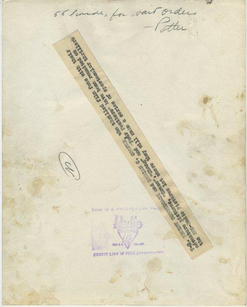 Reverse of Merian C Cooper Press Photo