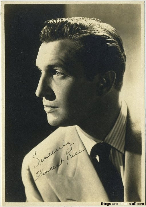 Vincent Price 1940s era 5x7 Fan Photo
